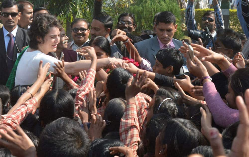 Priyanka Vadra meets with school children during her visit to Raebareli.