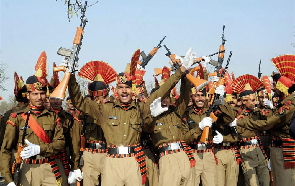 New recruits of the Indian Border Security Force (BSF) rejoice before their Passing out parade at Humhama, on the outskirts of Srinagar.