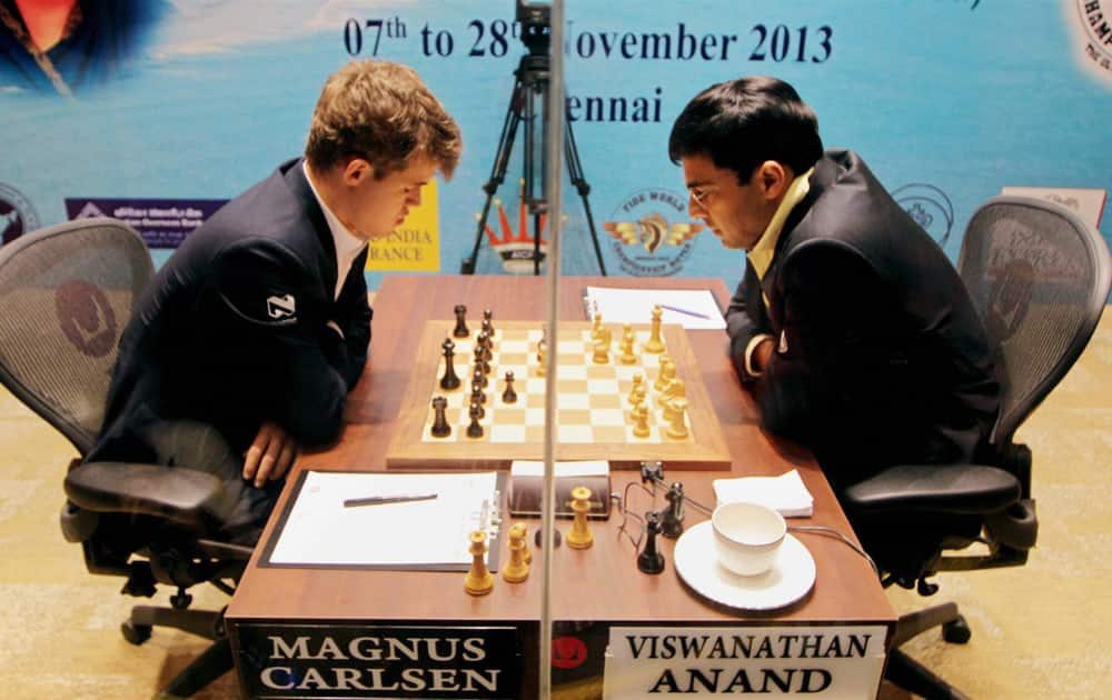 Viswanathan Anand of India and Magnus Carlsen of Norway during their fourth match at FIDE World Chess Championship in Chennai.