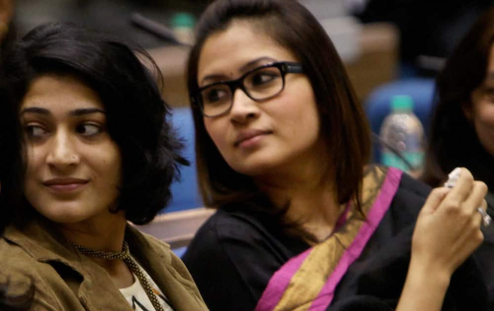 "Badminton players Jwala Gutta and Ashwini Ponappa during the Central Bureau of Investigation's International Conference on ""Evolving Common Strategies to Combat Corruption and Crime"" in New Delhi."