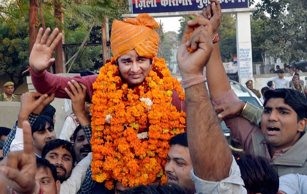 BJP MLA Sangeet Som, accused of inciting violence, after he was released in Muzaffarnagar.