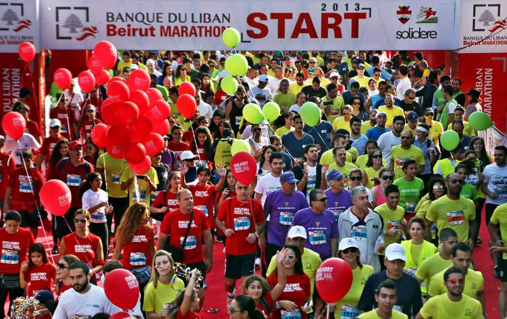 Lebanese and foreign runners participate in the 10 kilometer (6.2 mile) Fun Run of Beirut International Marathon, in Beirut, Lebanon.