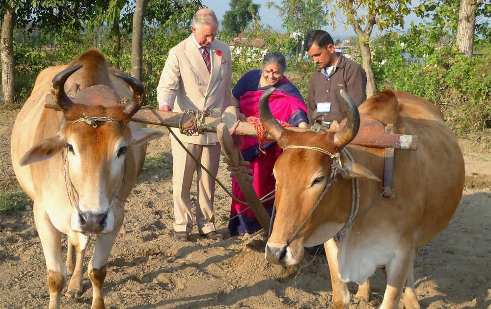 Prince Charles and environmentalist Vandana Shiva in the field during his visit to Navdany`s Earth University (Bija Vidyapeeth) biodiversity conservation farm, Ramgarh in Dehradun.