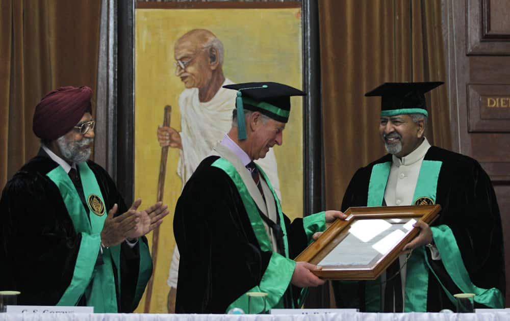 Britain`s Prince Charles is bestowed with an honorary degree in forestry at the Forest Research Institute in Dehradun.