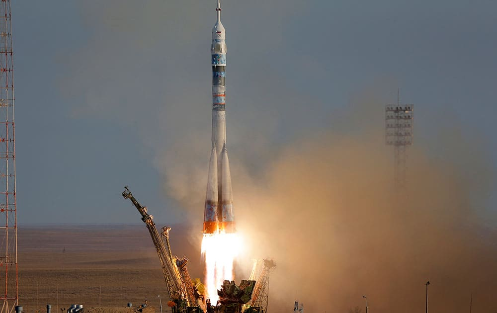 The Soyuz-FG rocket booster with Soyuz TMA-10M space ship carrying a new crew to the International Space Station, ISS, blasts off at the Russian leased Baikonur cosmodrome, Kazakhstan.
