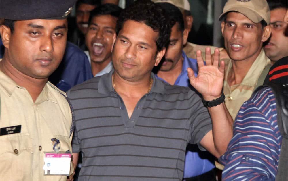 Master blaster Sachin Tendulkar arrives at Dum Dum Airport for the upcoming Test match,in Kolkata.