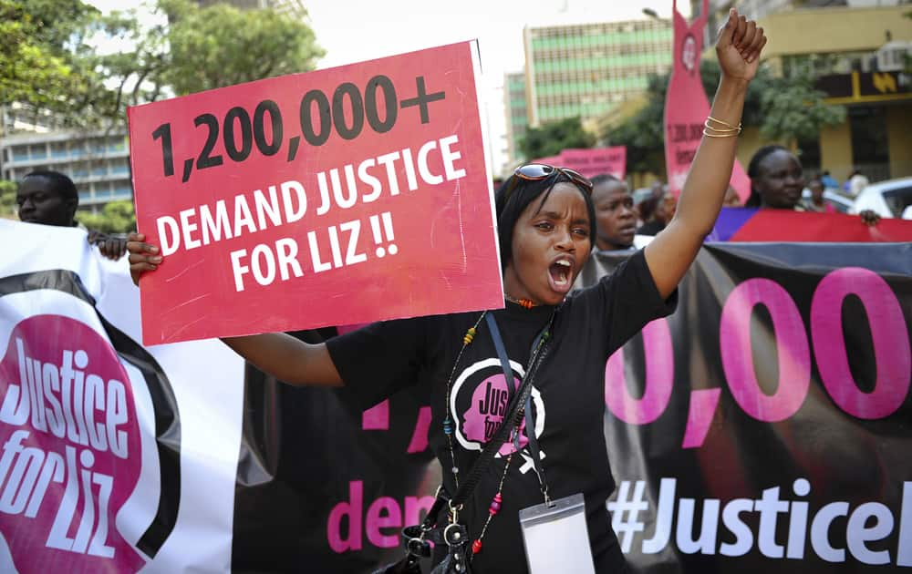 Hundreds of women protest after a teenager was allegedly gang-raped in June and no one was jailed, at a demonstration in the capital Nairobi, Kenya.