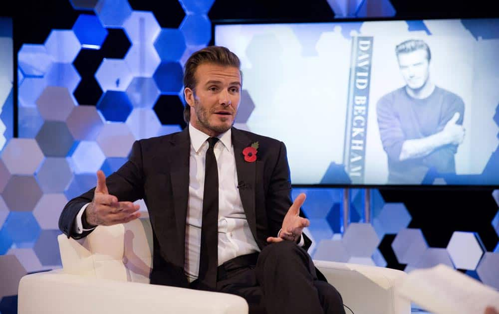 Former England national soccer team captain David Beckham speaks as he is interviewed by The Associated Press at a studio in Hampstead, north London.