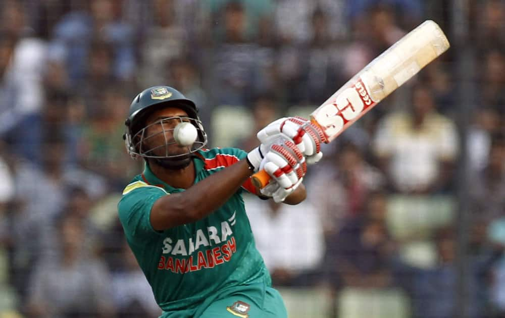 Bangladeshi cricketer Mahmudullah is hit by a ball on the first one-day international cricket match against New Zealand in Dhaka, Bangladesh.