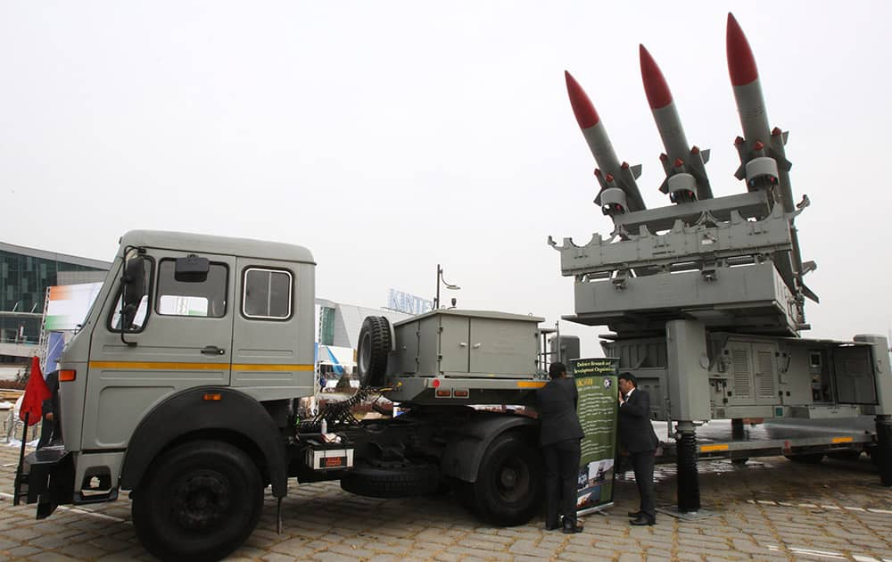Akashi, India`s Mobile Launcher System, is displayed during a media day of Seoul International Aerospace and Defense Exhibition (ADEX) 2013 in Goyang, South Korea.