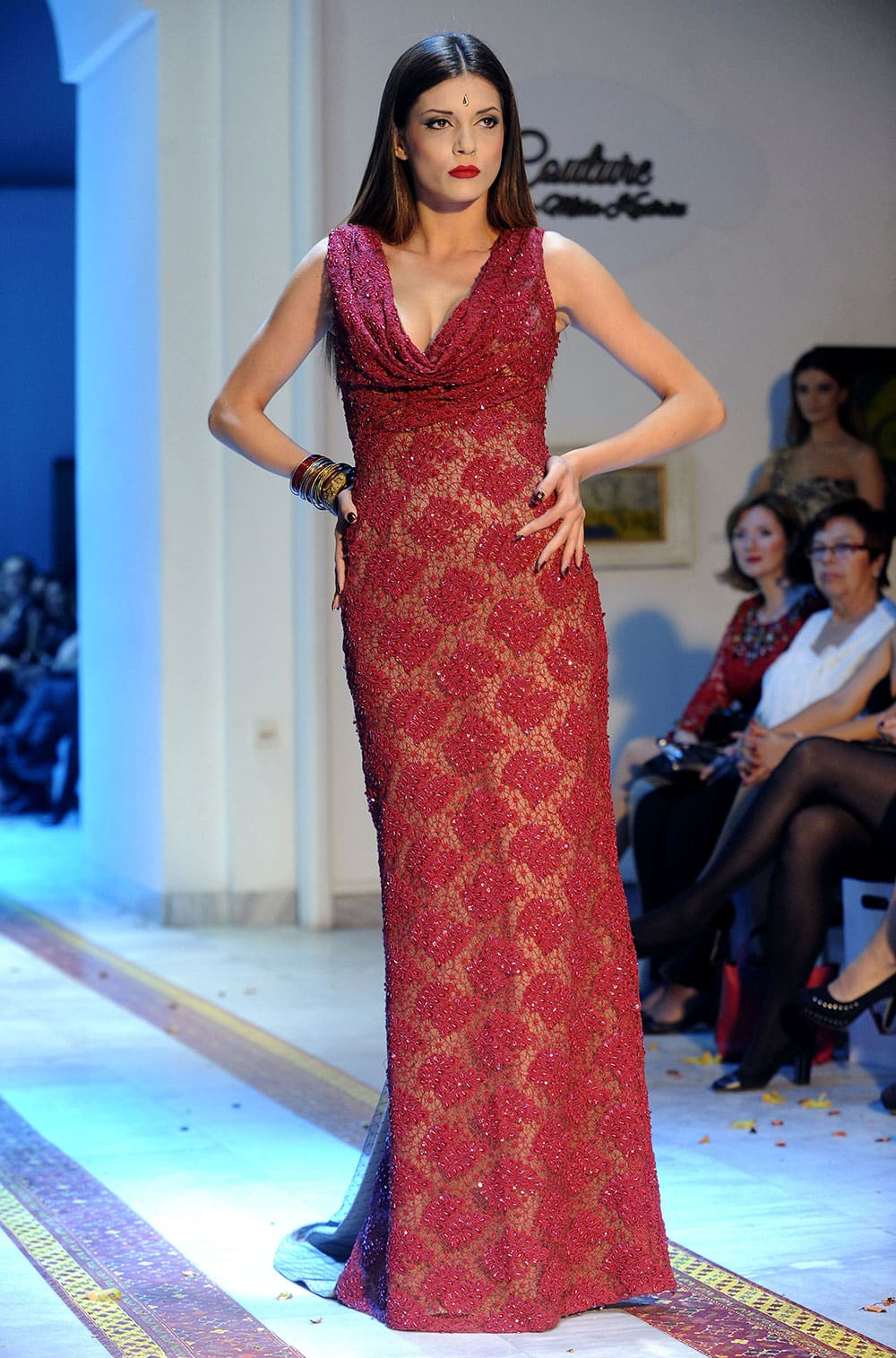 A model displays a creation by Macedonian designer Mila Kadriu during a fashion show in Skopje, Macedonia.
