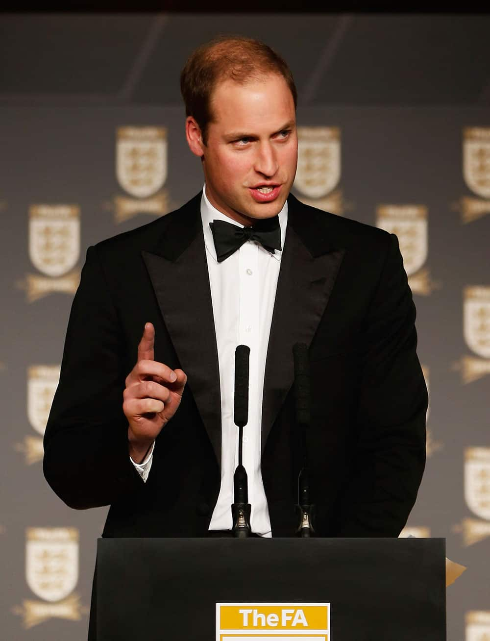 Britain`s Prince William speaks during The Football Association`s 150th Anniversary Gala Dinner in central London. The Football Association was founded 150 years ago on October 26, 1863.