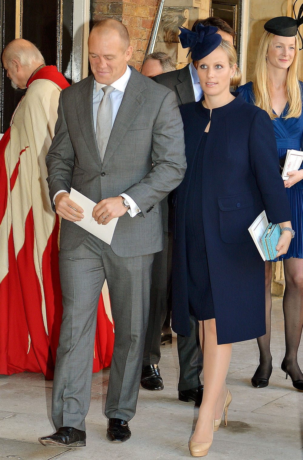Mike and Zara Tindall (nee Phillips) leave the Chapel Royal in St James`s Palace in central London, following the christening of Prince George, the son of Prince William and his wife Kate, by the Archbishop of Canterbury.