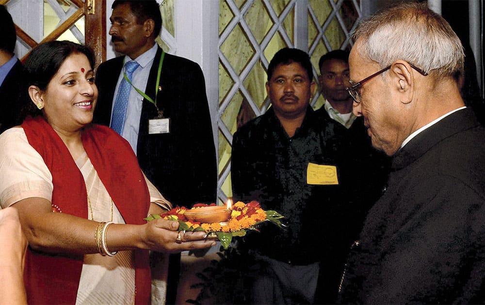 President Pranab Mukherjee is welcomed at the Meghalaya Legislative Assembly in Shillong.