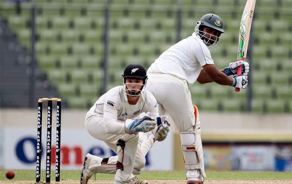 Bangladesh's Tamim Iqbal plays a shot on the first day of the second cricket test match against New Zealand in Dhaka.