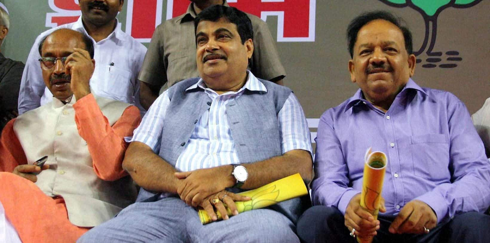 BJP former president Nitin Gadkari with Vijay Goel and Harsh Vardhan during a function in east Delhi.