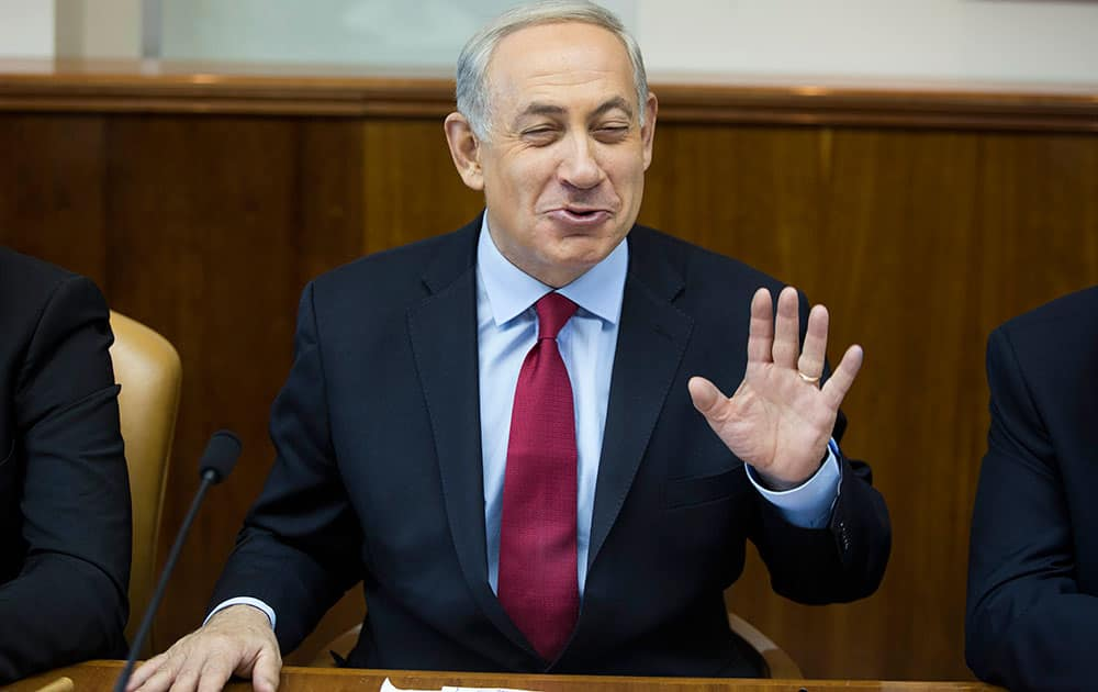 Israeli Prime Minister Benjamin Netanyahu speaks at the weekly cabinet meeting at his Jerusalem office.