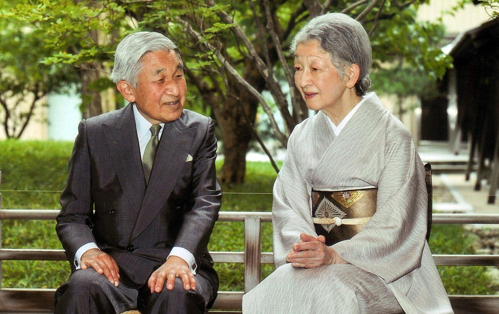 Japanese Emperor Akihito, left, and Empress Michiko sit at their Imperial residence in Tokyo. Empress Michiko celebrated her 79th birthday on Sunday.