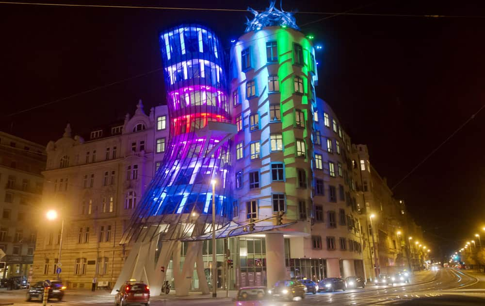 Lights are projected onto the Dancing House in Prague, Czech Republic. Numerous buildings in Prague are lit up for the Festival of Lights in the next days.