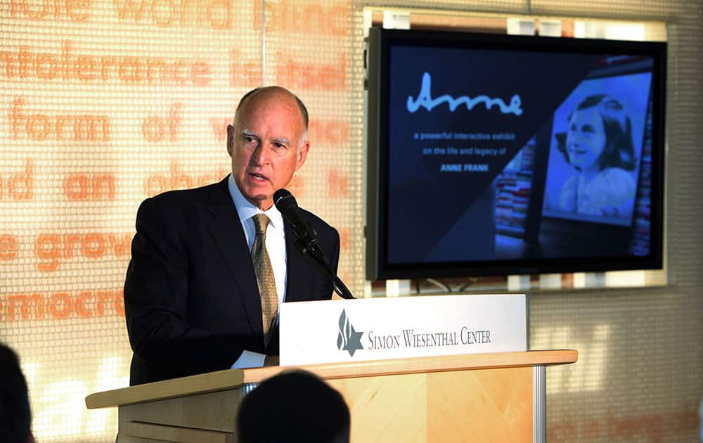 California Gov. Jerry Brown speaks at the dedication of