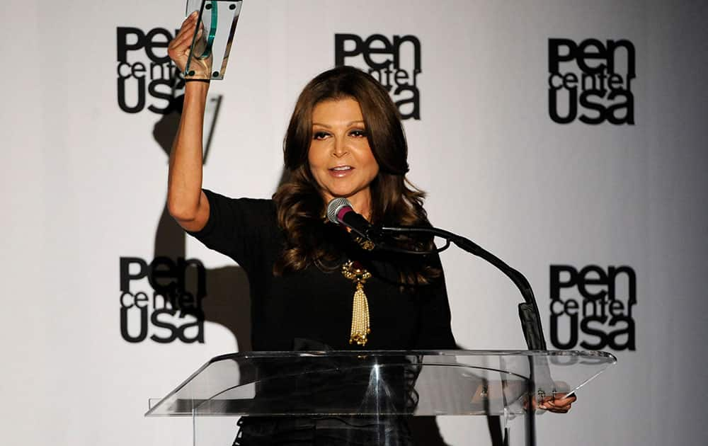 Sonia Nassery Cole accepts the freedom to write award at the 23rd Annual Literary Awards at The Beverly Hills Hotel in Beverly Hills, Calif.