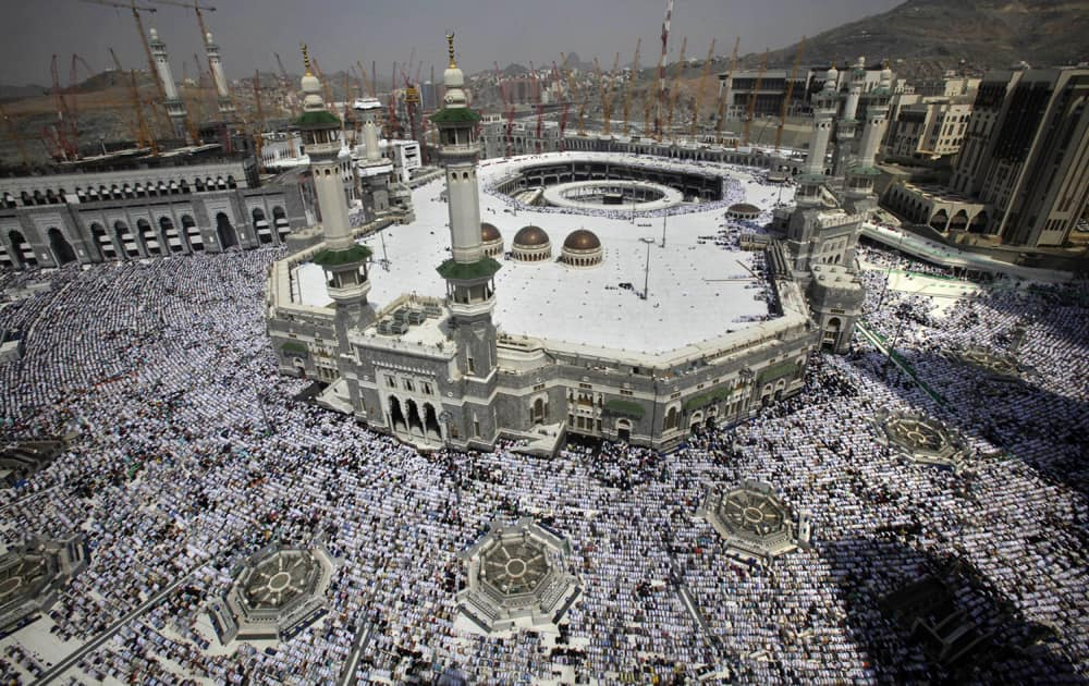 Muslim pilgrims attend Friday prayers at the Grand Mosque in the Muslim holy city of Mecca, Saudi Arabia.