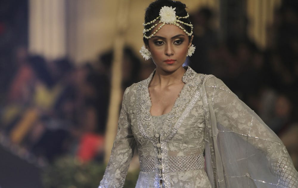 A Pakistani model displays creations by designer Elan during a Bridal Week organized by the Pakistan Fashion Design Council in Lahore.