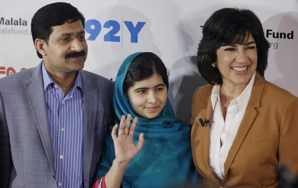Malala Yousafzai, her father, Ziauddin Yousafzai and Christiane Amanpour pose for photographs, in New York.