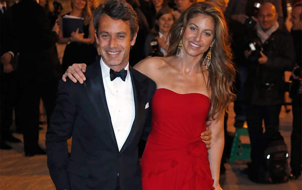 Dylan Lauren, right, and Andrew Lauren arrive at a Ralph Lauren Collection Show and private dinner at Paris