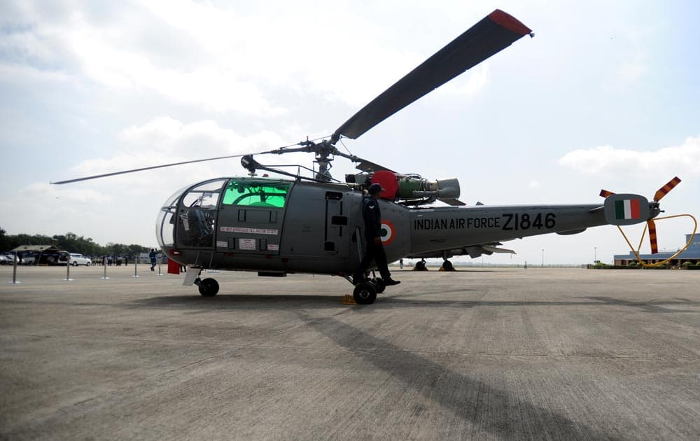 Chetak helicopter on display at Indian Air Force`s (IAF) Pune station in Pune. Pic Courtesy: DNA