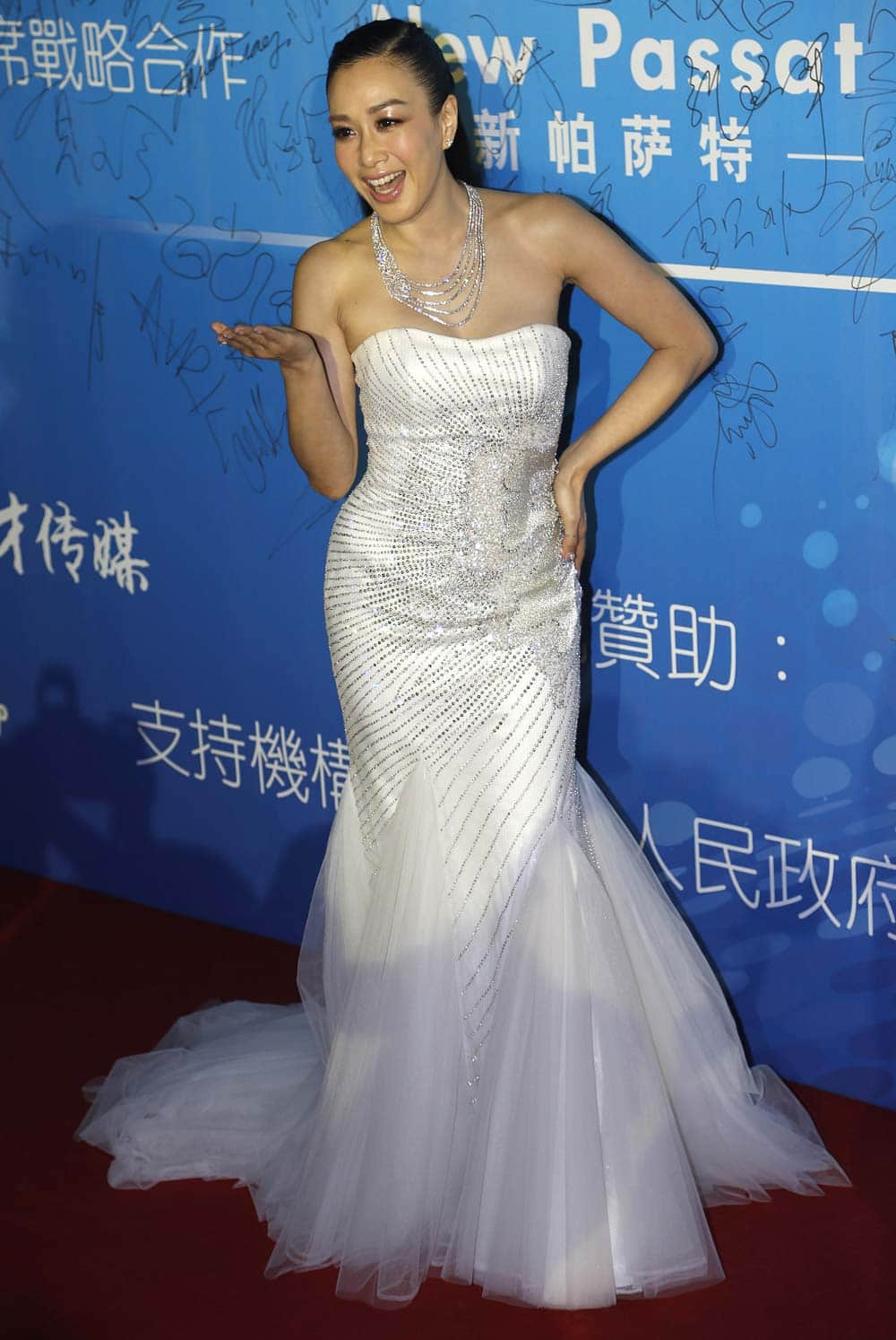 Canadian actress Christy Chung arrives at the 10th Huading Awards ceremony in Macau.
