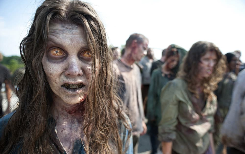 Zombies appear in a scene from the second season of the AMC original series,