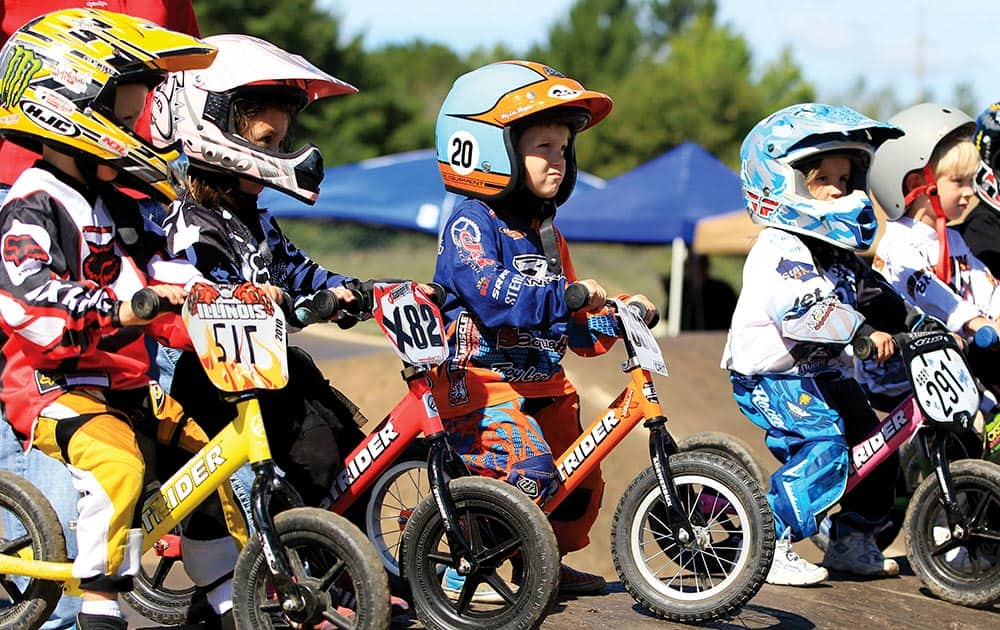 Three year old children line up for the STRIDER race at the 2012 USA BMX Badger State Nationals held in Wisconsin Rapids.