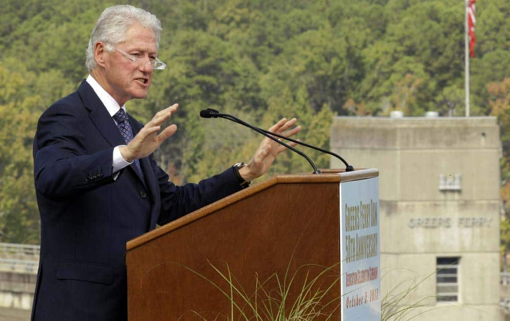 Former President Bill Clinton speaks at the 50th anniversary of the original dedication of Greers Ferry Dam near Heber Springs, Ark.