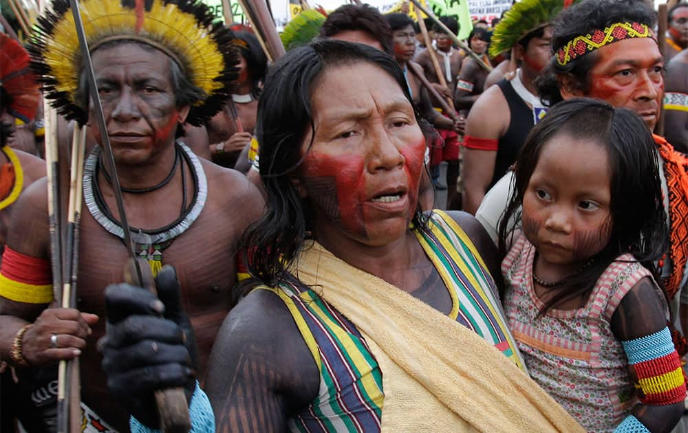 Indians from the Kayapo tribe gather for the the first day of the National Indigenous Mobilization protest in Brasilia.