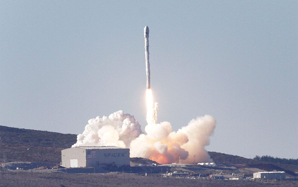 A SpaceX Falcon 9 rocket is launched from Vandenberg Air Force Base as it makes its West Coast debut from Space Launch Complex-4.