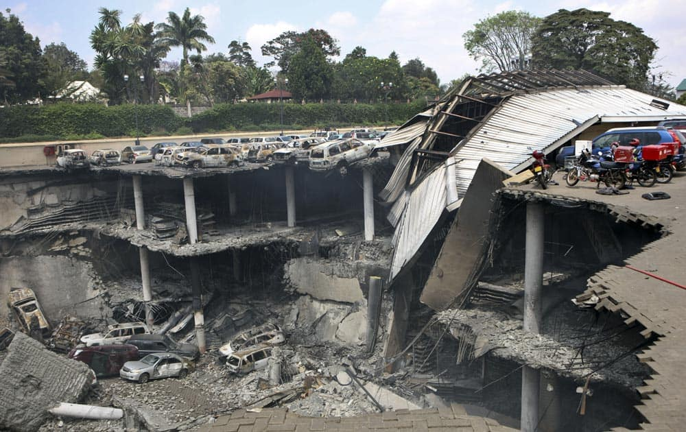 This photo released by the Kenya Presidency shows the collapsed upper car park of the Westgate Mall in Nairobi.