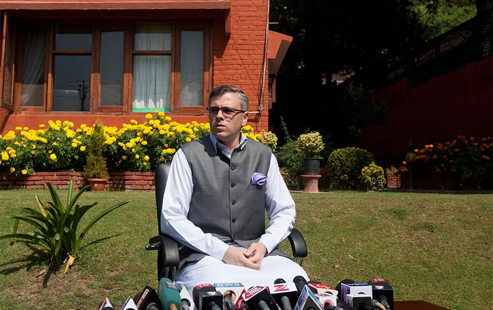 Jammu and Kashmir state Chief Minister Omar Abdullah addresses a press conference in Srinagar. Abdullah condemned the recent attack by terrorists in Kashmir.