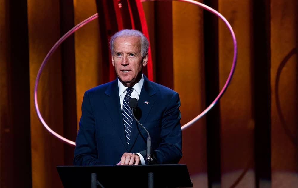Vice President Joe Biden speaks at the Clinton Global Initiative`s Citizen Awards Dinner before presenting an award,  in New York.