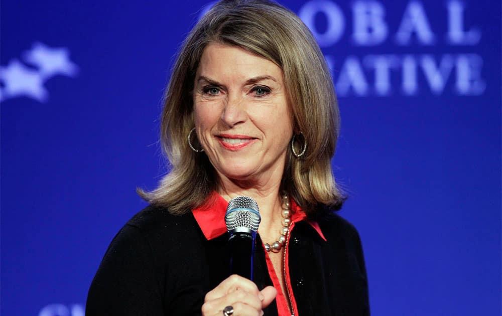 Kathleen Matthews, executive vice president of Marriott International, moderates the panel discussion,
