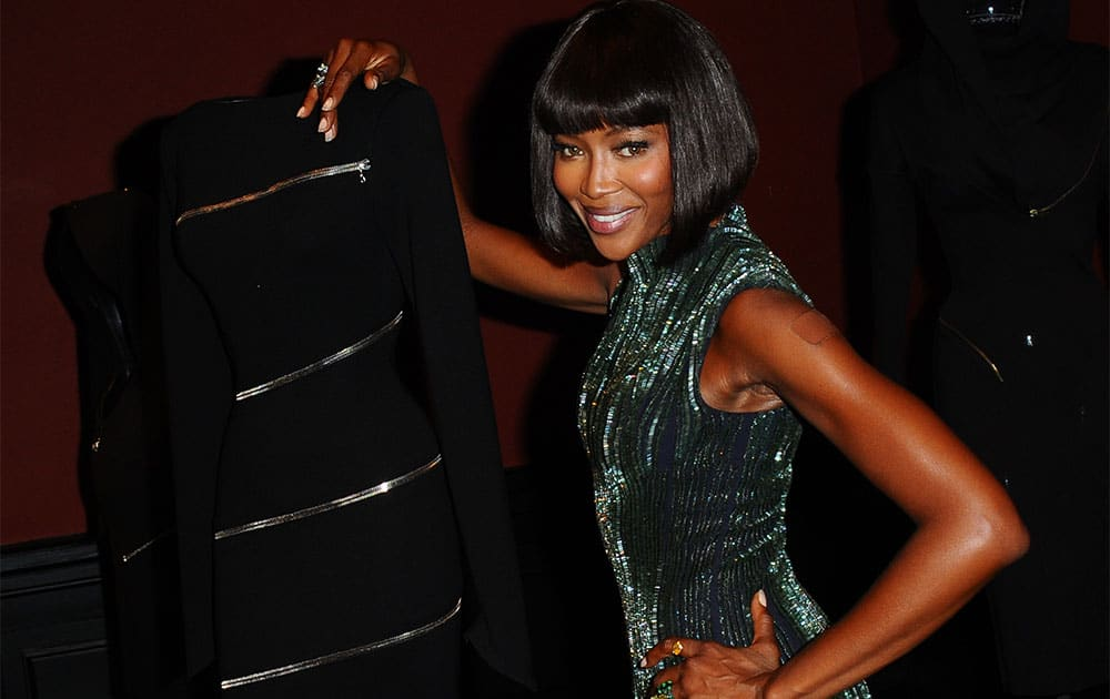 Super model Naomi Campbell, poses at the Alaia exhibit Gala. French Tunisian born Fashion designer Azzedine Alaia, presented for the first Paris retrospective of couturier at the Museum of Modern Art in Paris.