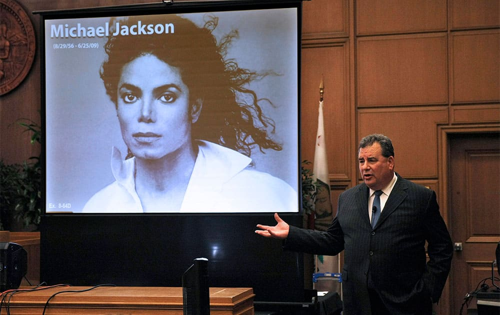 Brian Panish, attorney for the Michael Jackson family delivers his closing argument to jurors in a packed courtroom in downtown Los Angeles.