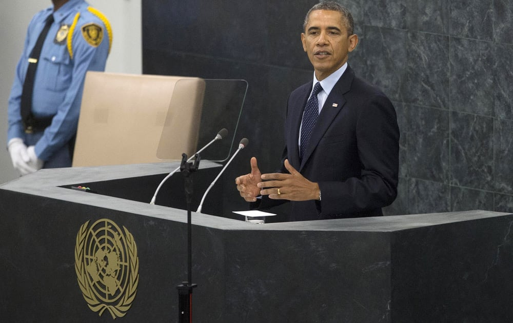 President Barack Obama addresses the 68th session of the United Nations General Assembly at the United Nations headquarters.