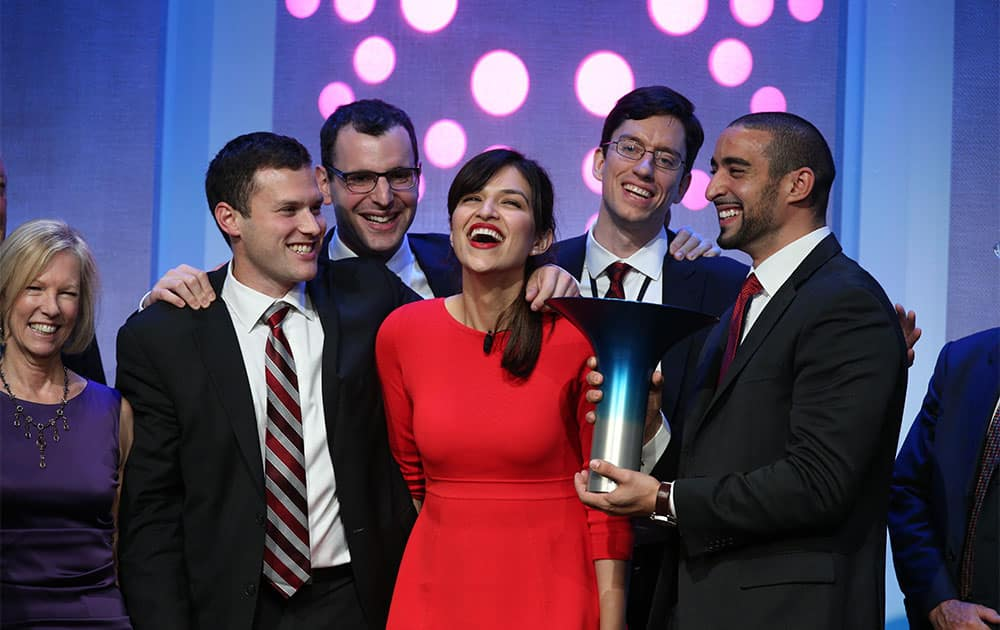 McGill University wins the $1 million Hult Prize for their social enterprise Aspire Food to grow and sell edible insects, as announced on the first day of President Bill Clinton`s annual CGI meeting in New York.