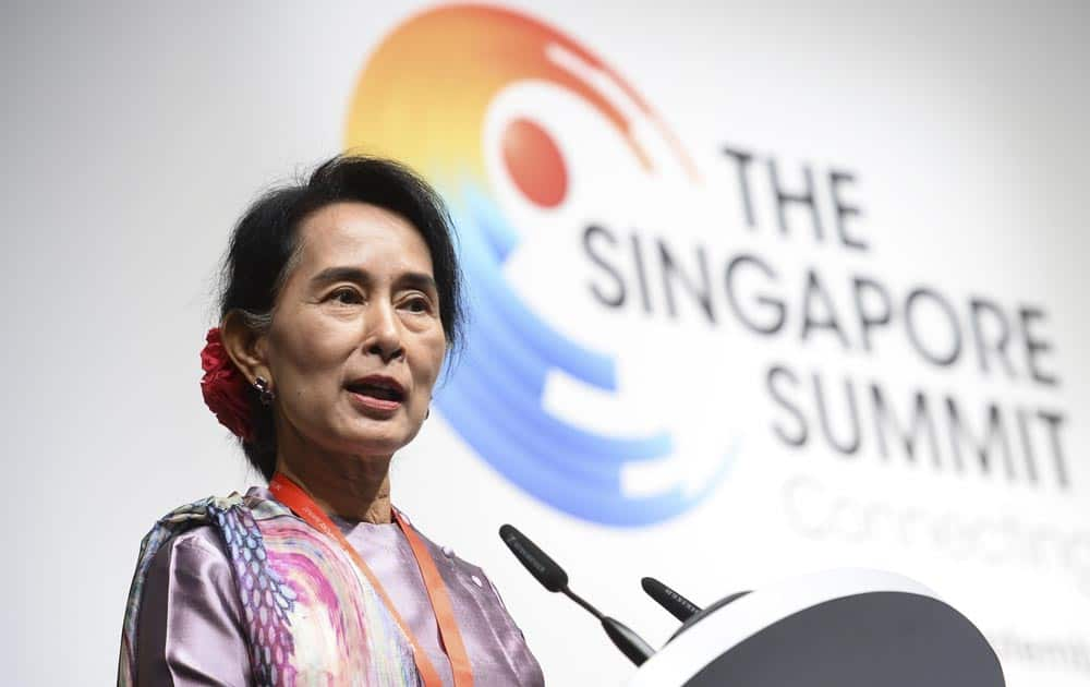 Myanmar opposition leader Aung San Suu Kyi delivers her keynote speech during the Singapore Summit in Singapore.