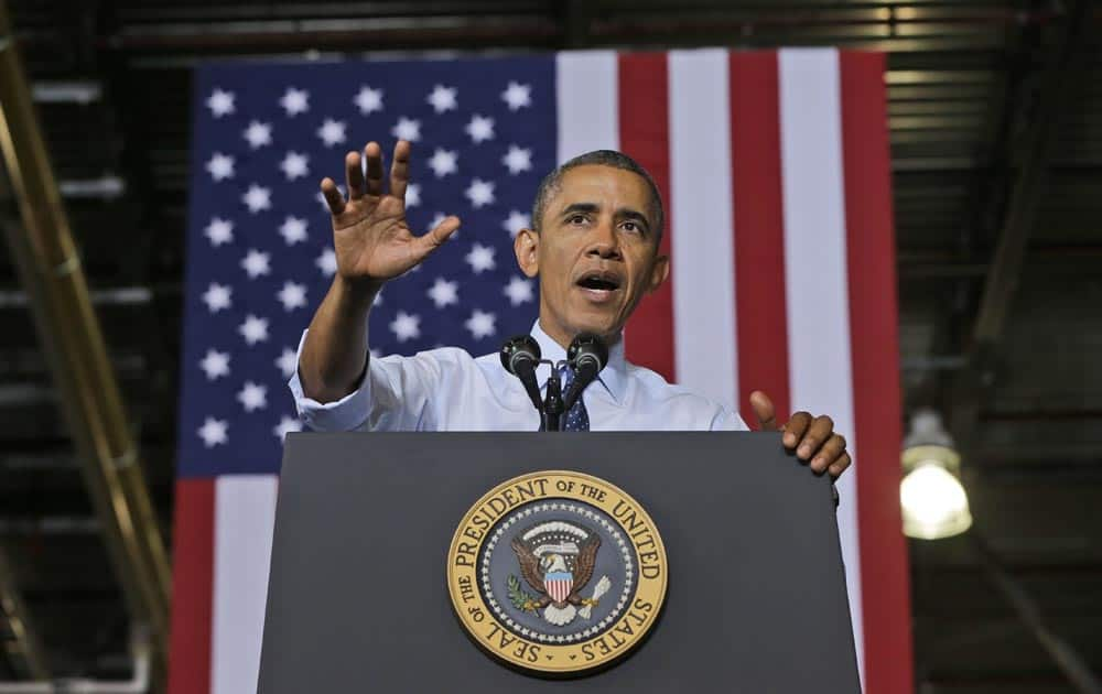 President Barack Obama speaks at the Ford Kansas City Stamping Plant in Liberty, MO.
