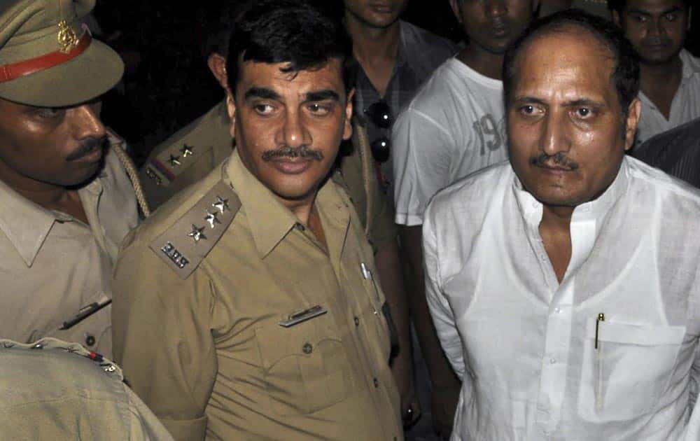 Bharatiya Janata Party Member of Legislative Assembly Suresh Rana, is arrested by the police in Lucknow.