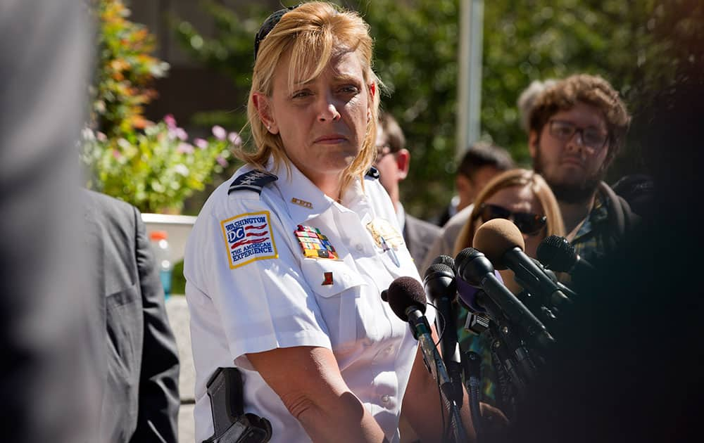 Washington Metropolitan Police Chief Cathy Lanier listens to a question at a news conference about the shootings at the Washington Navy Yard, while outside of the FBI Washington Field Office, in Washington, on Tuesday, Sept. 17, 2013, the day after the shootings at the Navy Yard.