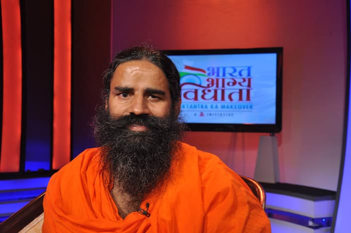 Baba Ramdev, on the sets of Bharat Bhagya Vidhata show `Nishane Pe`.