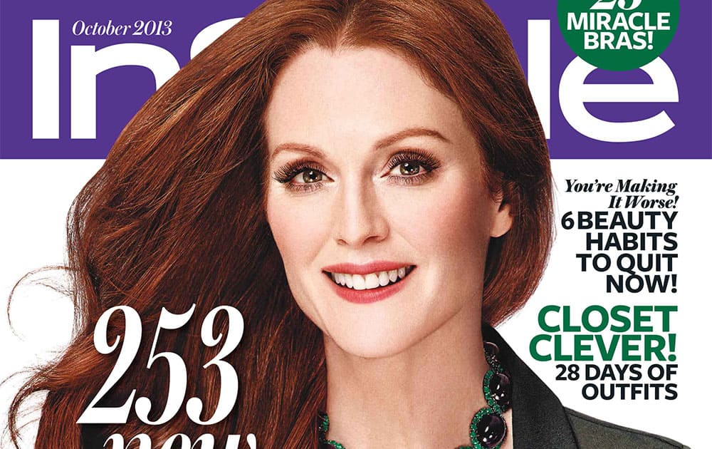 This magazine cover image released by InStyle shows actress Julianne Moore on the cover of the October 2013 issue.